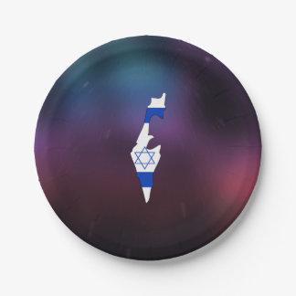 Mapa fresco de la bandera de Israel Plato De Papel De 7 Pulgadas