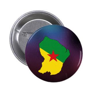 Mapa fresco de la bandera de la Guayana Francesa Pin Redondo 5 Cm