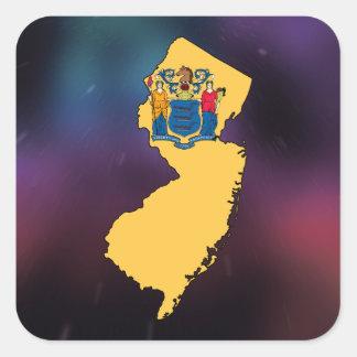 Mapa fresco de la bandera de New Jersey Pegatina Cuadrada