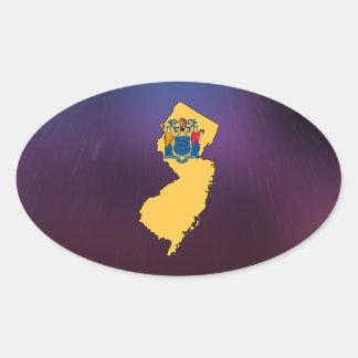 Mapa fresco de la bandera de New Jersey Pegatina Ovalada