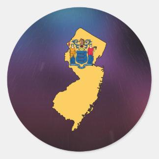 Mapa fresco de la bandera de New Jersey Pegatina Redonda