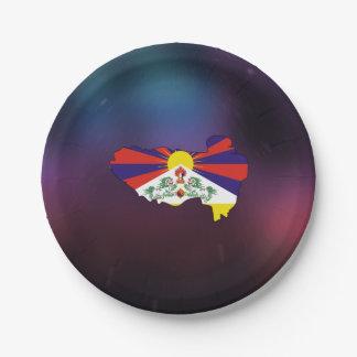 Mapa fresco de la bandera de Tíbet Plato De Papel De 7 Pulgadas