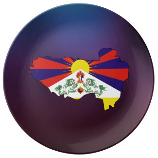 Mapa fresco de la bandera de Tíbet Platos De Cerámica