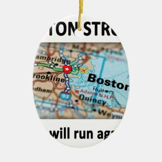 Mapa fuerte de Boston Adorno Ovalado De Cerámica