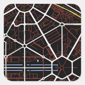 Mapa futuro de Nueva Deli Calcomanía Cuadradas Personalizada