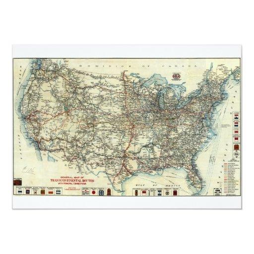 Mapa general 1918 del AAA de rutas Invitación 12,7 X 17,8 Cm