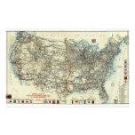 Mapa general 1918 del AAA de rutas transcontinenta Papeleria