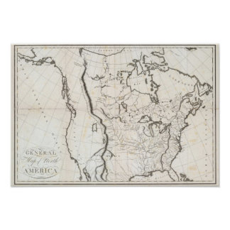 Mapa general de Norteamérica Póster