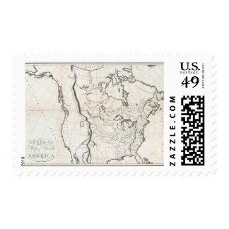 Mapa general de Norteamérica Sello Postal