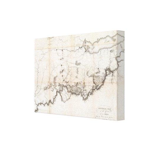 Mapa general del curso del Ohio Lona Estirada Galerias