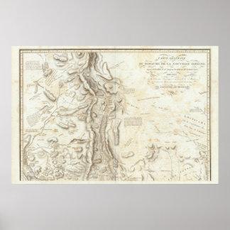 Mapa general del Reino de nueva España Póster