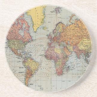 Mapa general del vintage del mundo posavaso para bebida