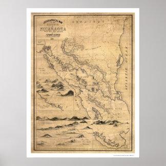 Mapa geográfico 1855 de Nicaragua Póster