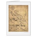 Mapa geográfico 1855 de Nicaragua Tarjeton