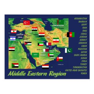 Mapa geográfico de los países Oriente Medios con Tarjeta Postal