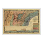 Mapa geológico 1866 de Tennessee Poster