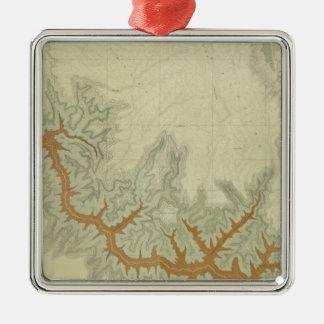 Mapa geológico compuesto de la meseta de Kaibab Adorno Cuadrado Plateado