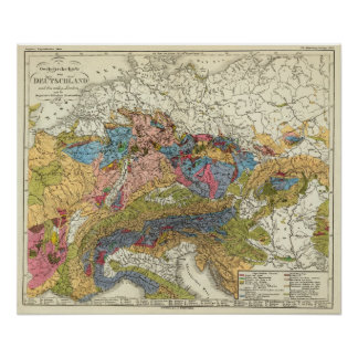 Mapa geológico de Alemania Póster