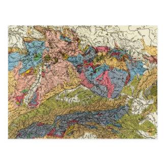 Mapa geológico de Alemania Tarjetas Postales