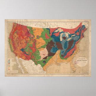 Mapa geológico de Estados Unidos del vintage Póster