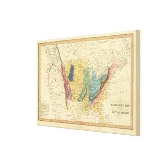 Mapa geológico de Estados Unidos Lienzo Envuelto Para Galerias