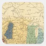 Mapa geológico de Estados Unidos Pegatina Cuadrada