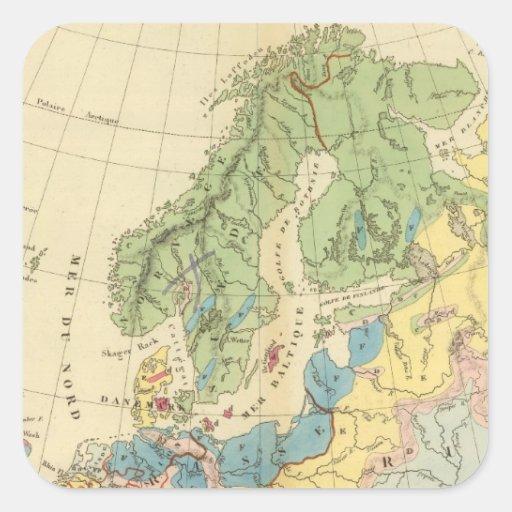 Mapa geológico de Europa Pegatina Cuadrada