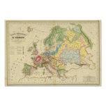 Mapa geológico de Europa Póster