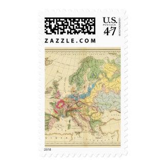Mapa geológico de Europa Sello Postal