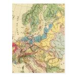 Mapa geológico de Europa Tarjeta Postal