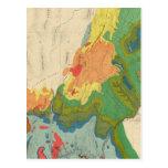 Mapa geológico de la parte occidental tarjetas postales
