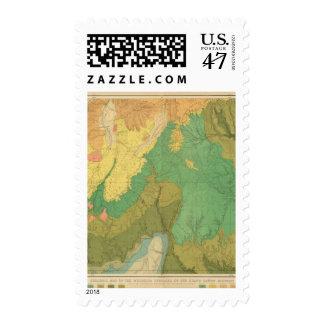 Mapa geológico de las terrazas mesozoicas sello postal