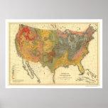 Mapa geológico de los E.E.U.U. 1872 Posters