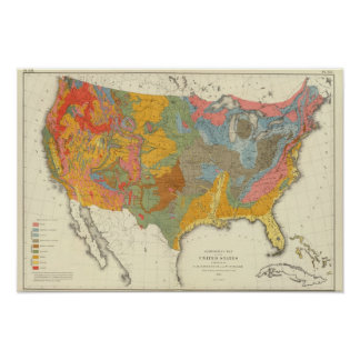 Mapa geológico de los E.E.U.U. Posters