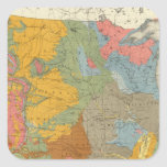 Mapa geológico de los E.E.U.U. Pegatina Cuadrada