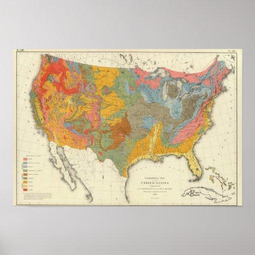 Mapa geológico de los E.E.U.U. Póster