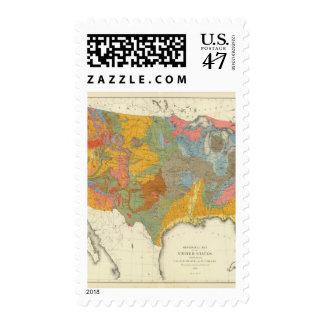 Mapa geológico de los E.E.U.U. Sellos Postales