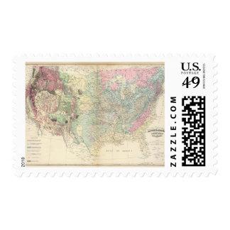 Mapa geológico de los E.E.U.U. Timbres Postales