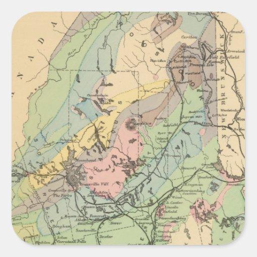 Mapa geológico de Maine Pegatina Cuadrada