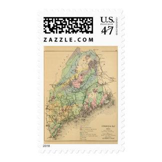 Mapa geológico de Maine Timbres Postales