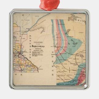 Mapa geológico de Minnesota por NH Winchell Adorno Navideño Cuadrado De Metal