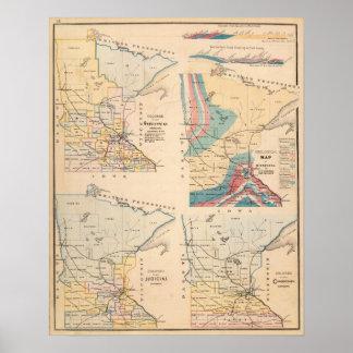 Mapa geológico de Minnesota por NH Winchell Póster