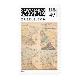 Mapa geológico de Minnesota por NH Winchell Sellos Postales