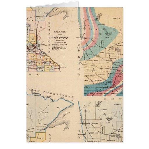 Mapa geológico de Minnesota por NH Winchell Tarjeta De Felicitación