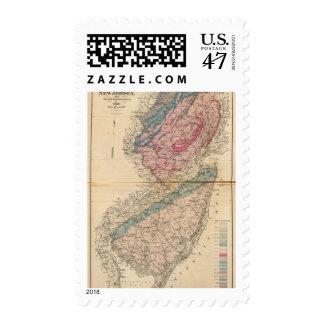 Mapa geológico de New Jersey Estampilla