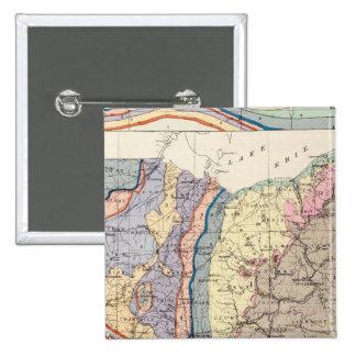 Mapa geológico de Ohio Pin Cuadrada 5 Cm