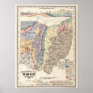 Mapa geológico de Ohio Póster