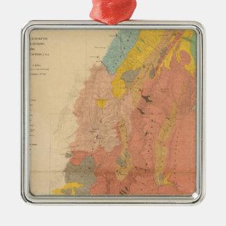 Mapa geológico de Utah Adorno Navideño Cuadrado De Metal
