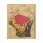 Mapa geológico de Wisconsin Impresión En Madera