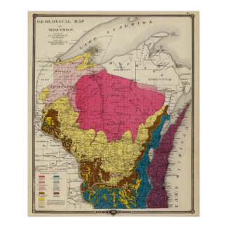 Mapa geológico de Wisconsin Poster